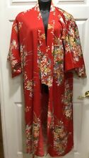 Japanese Kimono Red Floral Made in Japan Polyester
