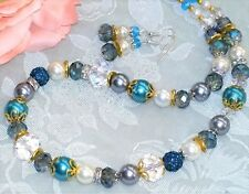 "STUNNING! 21"" Glass Pearls Crystal Necklace + Earrings Blue *FREE SHIP"