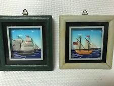 """2 Vintage 3D Sailboat Framed Nautical Art 4"""" Square"""