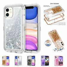 For iPhone 11, 11 Pro, 11 Pro Max Case Shockproof Liquid Glitter Bling Cover