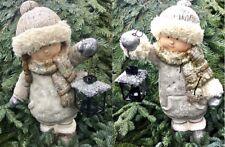 2 Stück XXL Winterkinder 47cm Gartenfigur Winterdeko Junge & Mädchen mit LATERNE
