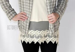 Lace Top Shirt Extender *style 1*--Lengthen, layering tank,  S-3XLarge, 6 colors