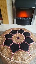 Moroccan real leather pouffe/footstool, handmade, stuffed ready to use, artisan