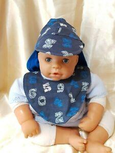 BABY BOY HAT & BIB SET with neck cover.  NEWBORN