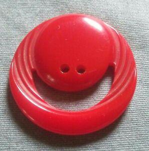 Vintage Carved Smiley Face Red Bakelite Button.