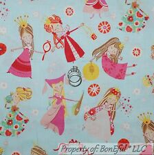 BonEful Fabric FQ Cotton Quilt VTG Blue Pink White Flower French Fairy Princess