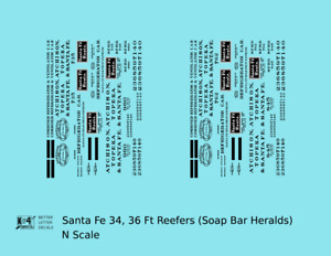 K4 N Decals Santa Fe Wickes / Hanrahan Ice Reefer Black & White Soap Bar Herald
