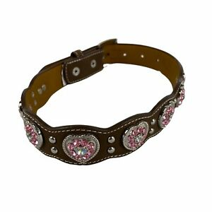 Nocona Belt Co Girls Brown Pink Crystal Heart Conchos Scalloped Western 20 in