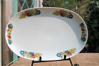 "Vintage Bavarian 14"" Porcelain Floral Serving Platter West Germany"
