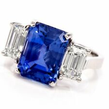 9.87 TCW Emerald cut blue sapphire 925 sterling silver wedding engagement ring