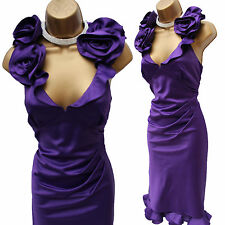 Karen Millen Purple Signature Satin Rose Corsage Ruffle Cocktail Dress 10 UK