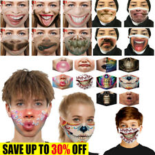 3D Print Funny Face Mask Protective Covering Washable Reusable Half Face Unisex