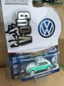 1946 VOLKSWAGEN BEETLE GREEN/WHITE WITH SURFBOARD AND ROOF RACK DIECAST 1/64