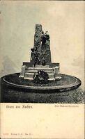 Gruss aus Aachen ~1900 Der Bakauv-Brunnen alte Postkarte Ansichtskarte ungelauf.