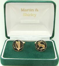 1965 IRISH Cufflinks made from old IRELAND Threepence coins in Black & Gold