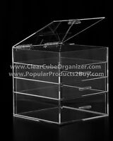 ACRYLIC LUCITE CLEAR CUBE MAKEUP ORGANIZER 3 Drawers plus Lid