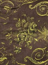 Brown Gold Floral Damask Chenille Upholstery Fabric (54 in.) Sold Bty