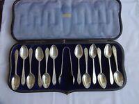 Art Deco Solid Silver Teaspoons x 12 & Sugar Tongs Sheffield 1923 T Bradbury