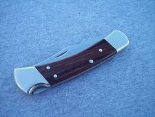 BUCK 110 * NICKEL SILVER BOLSTERS MIRROR POLISHED BLADE WOOD HANDLE KNIFE KNIVES