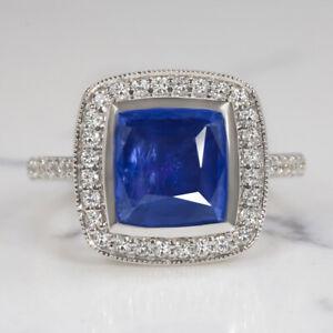 3.5ct SAPPHIRE DIAMOND COCKTAIL RING HALO CUSHION SHAPE WHITE GOLD ENGAGEMENT