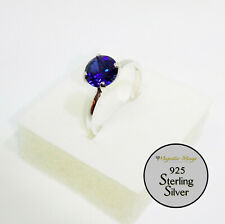 925 Solitaire Sterling Silver Blue Sapphire Ring Size 7/N