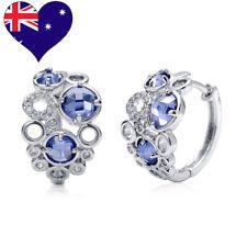 Rhodium Plated Blue Purple Round Tanzanite CZHoop Earring-Wedding-Gift-Jewellery