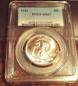 1943-P Walking Liberty Silver Half Dollar - PCGS MS 67 Brite White/Gold Rim Tone