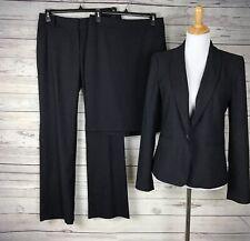 Ann Taylor LOFT Women's 3-Pc Julie Navy / Gray Blazer Pant Skirt Set Size 6