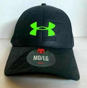 NEW! Under Armour Mens Embossed Flex Stretch Cap-Black/Green [M/L]