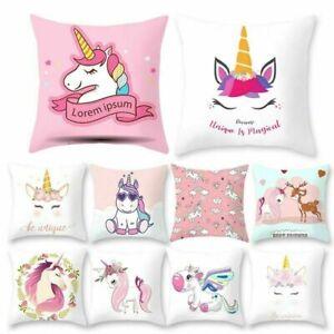 18'' Unicorn Cushion Cover Pillowcase Cute Cartoon Kid Room Home Sofa Decoration