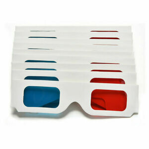 Universal Anaglyph Cardboard Paper Red Blue Cyan 3D For Movie BEST Glasses 8Y5U