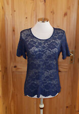 KALIKO navy dark blue stretch lace floral short sleeve tunic blouse top 12 40