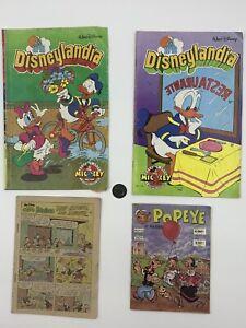 4 Vintage 1988 Mexican Comics 3 Disneylandia featuring Donald Duck & 1 Popeye