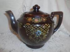 Vintage~Antiq Hand-Painted Japan RedWare Art Pottery Brown Betty Moriage Tea Pot