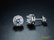 925 STERLING SILVER DIAMOND STUD EARRING 8mm ROUND CREATED CLEAR STONE UK SELLER