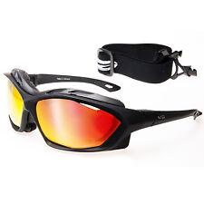 Rot verspiegelte Sportbrille Sonnenbrille + Windschutz Polsterung + Band