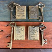 4 Solid Brass Brothel Keys W/ Tags & Antique Finish, Old West Collectible