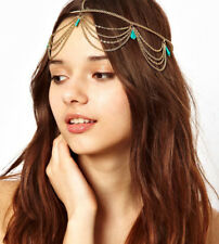 Gold Draping Head Chain Crown Hair Cuff Arabian Pendent Matha Patti Headpiece