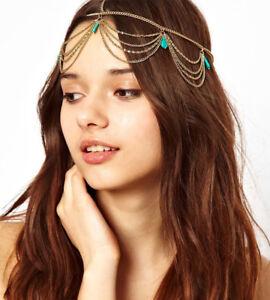 Gold Draping Head Chain Crown Hair Cuff Arabian Pendent Matha Patti Headpiece