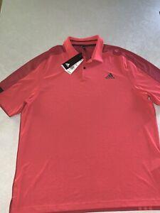 Adidas Mens Sport Aeroready Golf Polo Shirt Pullover Flash Red Black Size XL NWT