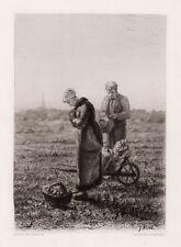 "Inspirational 1800s JEAN-FRANCOIS MILLET Etching ""The Angelus"" FRAMED Signed COA"