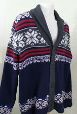 Tommy Hilfiger Men's Sweater SZ XXL Cardigan100% Lambswool Red White Blue Gray