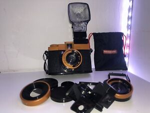Vintage Film Camera With Flash And Different Lenses 75mm, 55mm And Wide Angle