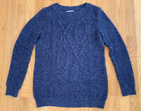 Lauren Conrad Blue Marled Crew Neck Long Sleeve XOXO Knit Sweater Womens Size XS