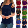 Women Summer Short Sleeve Strappy Cold Shoulder O-Neck T-Shirt Top Casual Blouse