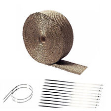"2"" 50Ft Titanium Basalt Manifold Header Exhaust Pipe Heat Wrap +10 Ties Kit"