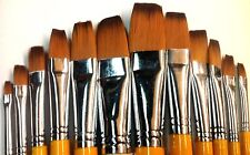 Synthetic Hair Flat Style Paint Brush Set 12pcs Art6110
