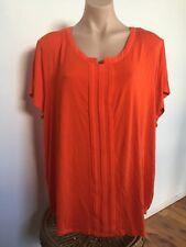 Basque Woman Orange Jersey & Chiffon Detail Short Sleeve Top Plus Size 22