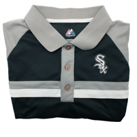 Majestic Chicago White Sox Stripe Black Golf Polo Men's XL Polyester Performance