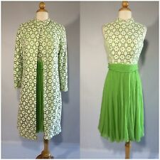Vintage 1960s Green White Lace Dress And Jacket Set Suit Mod